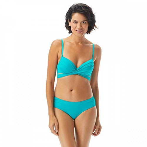Coco Reef Enrapture Bra Sized Wrap Underwire Bikini Top, Dark Turquoise, 36/38D