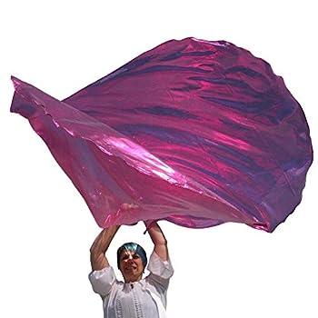 FUCHSIA METALLIC Angel Wing from Catch the Fire Worship Flags Praise & Worship Dance Flags Prophetic Worship Christian Dance in Church Beautiful Single Layer  2 ct  Flexible Poles