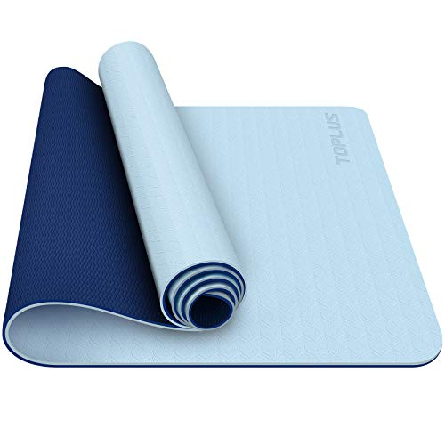 TOPLUS Yoga Mat - Classic 1/4 Inch Thick Pro Yoga Mat Eco Friendly Non Slip Fitness Exercise Mat with Carrying Strap-Workout Mat for Yoga, Pilates and Floor Exercises (Tranquil blue)