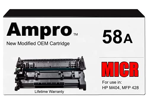 Ampro Modified MICR Replacement for CF258A 58A Cartridge for HP Laserjet Pro M404 M428 MFP Series (Prints 3000 Pages)