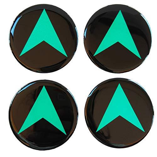 CUSHYSTORE GPS Navigator 65 mm Navigate Kuppel 3D Grün reflektierend auf schwarzem Rad 4 Stück Kappe Nabenabzieher Aufkleber Abzeichen Emblem für Rennwagen LKW Sicherheit Nacht Hohe Sichtbarkeit