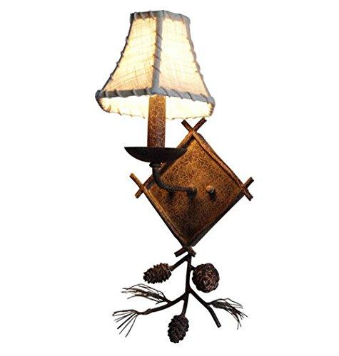 Antlers Lampe Murale Américaine Rustique Rétro Fer Forgé Birdie Pomme De Pin Chambre à Coucher Salon Café Créatif Minimaliste,SingleHeadB