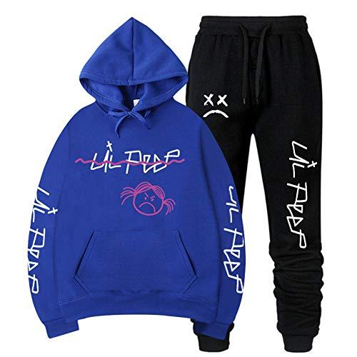 Lil Peep Conjuntos de Sudaderas con Capucha Hombre/Mujer Invierno Sudaderas con Capucha de Lana cálida + Pantalones Trajes de Hip hop-CYT-10_S