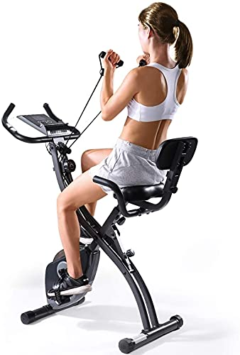 Exercise Bike Stationary Bike Folding Exercise Bike Foldable Magnetic Upright Recumbent Bike Cycling 3 in 1 Exercise Bike with Arm Resistance Bands Perfect for Men and Women at Home