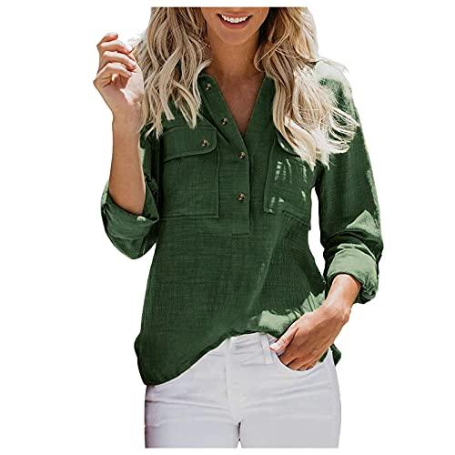 URIBAKY - Camisa de manga larga para mujer con cuello en V, estilo casual, de rayas básicas, de manga larga, C-Ejército Verde, M