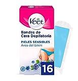 Veet Bandas de Cera Fría Depilatoria para Depilación Bikini con Aceite de Almendras, Easy Gelwax, Pieles Sensibles, 16 Bandas