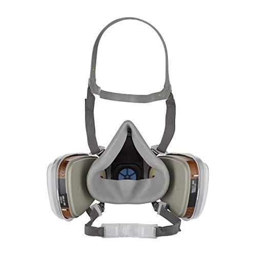 3M Mehrweg-Halbmaske 6002C – Halbmaske mit Wechselfiltern gegen organische Gase, Dämpfe und Partikel – Für Farbspritz- und Maschinenschleifarbeiten - 4