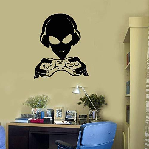 Alien player wall decal joystick sala de adolescentes dormitorio de los niños mural decoración del hogar arte vinilo pegatinas de pared