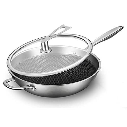 UER 304 Sartén Antiadherente De Acero Inoxidable Sin Humo Aceitoso Sartén para El Hogar Utensilios De Cocina Universal para Cocina De Inducción Y Estufa De Gas, Adecuados para 2-7 Personas