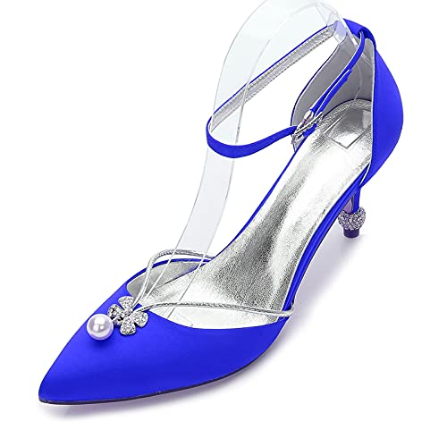 Zapatos De Boda, Zapatos De Novia Zapatos De Dama De Honor Punta Puntiaguda Plana con Zapatos De Baile De Perlas,Azul,37 EU