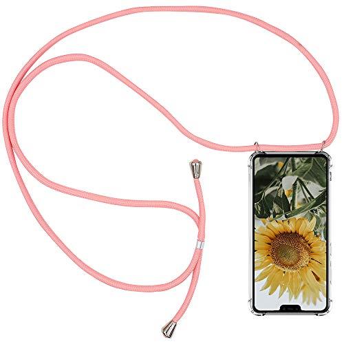 CLM-Tech Carcasa con Cuerda para Colgar Compatible con Xiaomi Mi 8 Lite - Funda Silicona Transparente con Cordon para Llevar en el Cuello, Rosa