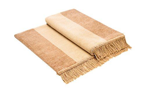 Bocasa Biederlack Sofaschoner Cotton Cover aus Baumwolle, Salt & Pepper Beige, 100x200 cm