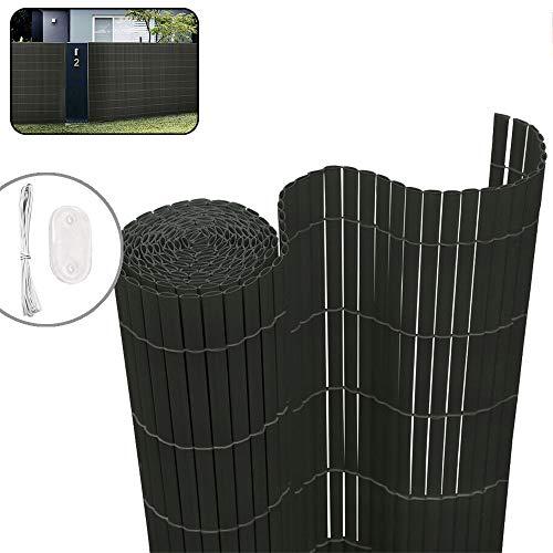 LZQ PVC Sichtschutzmatte Sichtschutzzaun Anthrazit, 3 x 0,9 m (L x B), Balkonverkleidung, Balkonumrandung, Blende mit verstärkten Lamellen, Garten, Balkon, Terrasse, Outdoor