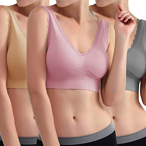 Libella Sujetador Deportivo sin Costuras de 3 Piezas Sujetador de Yoga con Almohadillas Removibles para Mujeres Ultra-Lift de Komfort- BH Rose Beige Gris 3747 L/XL 🔥