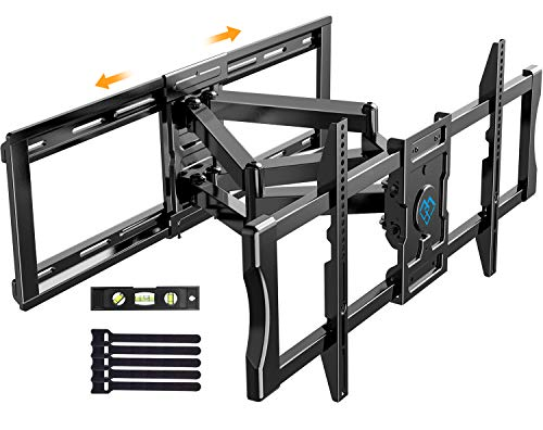 "Full Motion Articulating TV Mount for 37-80"" Flat/Curve TVs with Max VESA 600x400mm Sliding TV Wall Mount for TV Centering Swivel Rotate Extend Tilting TV Bracket Fits 24"" Studs Hold TV up to 132 lbs"