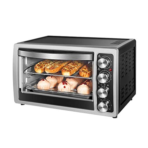 JCOCO Mini 30L Electric Oven with Precision Temperature Control 0-230°C and 0-60min Timing 360°Rotating Roasting 1500W Double-function Multi-function Rotating Fork Independent Temperature Control Smal