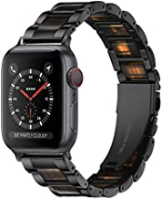 Light Apple Watch Band - Resin with Stainless Steel Luxury iWatch Band Bracelet Compatible with Comfortable Stainless steel buckle for Apple Watch Series SE 6 5 4 3 2 1 (Black-Deep Beeswax, 42mm/44mm)