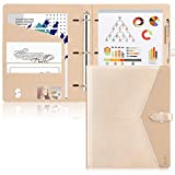 Toplive Padfolio 3 Ring Binder (1'' Round Ring) Business Portfolio Folder for Interview, Conference and Presentation, Gold