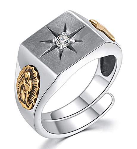 RXISHOP Men's Ring, 925 Silver Opening Adjustable Diamond Cross Jesus Ring, Wedding Engagementdad Give Boyfriend Gift Ring