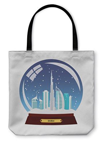Gear New Shoulder Tote Hand Bag Snow Globe City Dubai In Snow Globe Winter Travel Illustration 16x16 5885683GN
