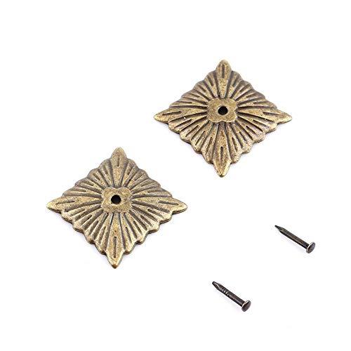 Set di chiodi per tappezzeria, set di chiodi per tappezzeria per mobili con etichetta in metallo color bronzo vintage 100pc Set di chiodi decorativi per porta per scarpe da divano antico(21 × 21 mm)