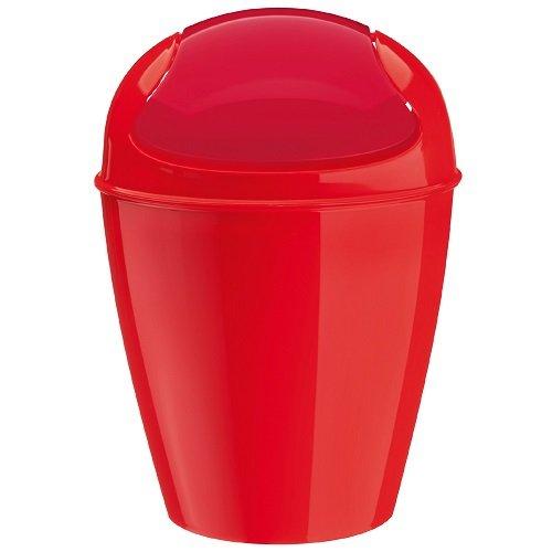 koziol Schwingdeckeleimer 0,9 L Del XXS,  Kunststoff, solid himbeer rot, 12,7 x 12,7 x 18,7 cm
