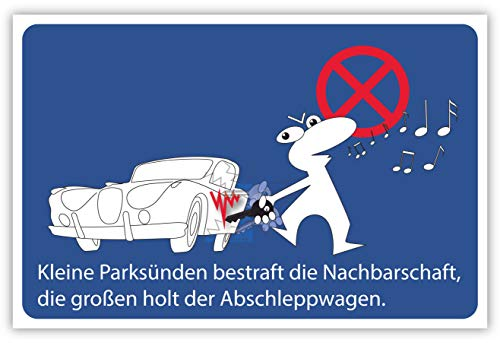 SCHILDER HIMMEL anpassbares Parken verboten Abschleppwagen Schild 29x21cm Kunststoff, Nr 58 eigener Text/Bild verschiedene Größen/Materialien