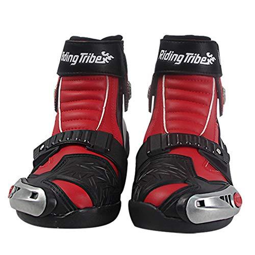 AJL Motorista Botas de los Hombres de Color Rojo - los Zapatos de la Motocicleta con los Protectores de Concha Dura adjuntos - Botas de Motociclismo, Botas de VTT MX Scrambler Offroad Motocross