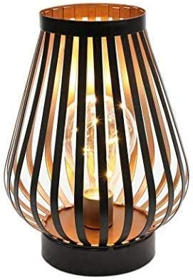 JHY DESIGN Metal Cage LED Lantern Battery Powered 8 7in Cordless Accent Light with LED Edsion product image
