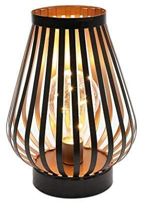 JHY DESIGN Metal Cage LED Lantern Battery Powered,8.7in Cordless Accent Light with LED Edsion Style Bulb.Great for Weddings, Parties, Patio,Events for Indoors/Outdoors