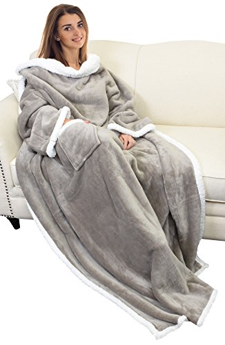Sherpa Wearable Blanket with Sleeves Arms,Super Soft Warm Comfy Large Fleece Plush Sleeved TV Throws Wrap Robe Blanket for Adult Women and Men by Catalonia