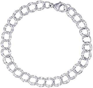 Double Link Dapped Curb Classic Charm Bracelet