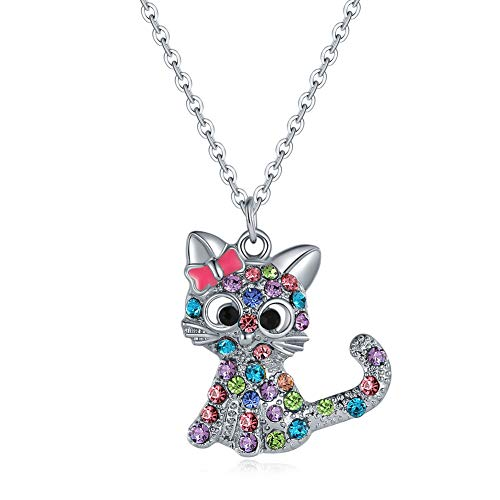 Collana di gattini-collana bambina,collana di cristallo, ciondolo di ragazza carina in lega, regalo di festa per ragazza, regalo per bambini, regalo di San Valentino(rosa)