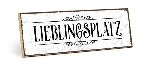 TypeStoff Holzschild mit Spruch – LIEBLINGSPLATZ – Grafik-Bild schwarz-weiß, Schild, Wandschild, Türschild, Holztafel, Holzbild als Geschenk und Dekoration (9,5 x 28,2 cm)