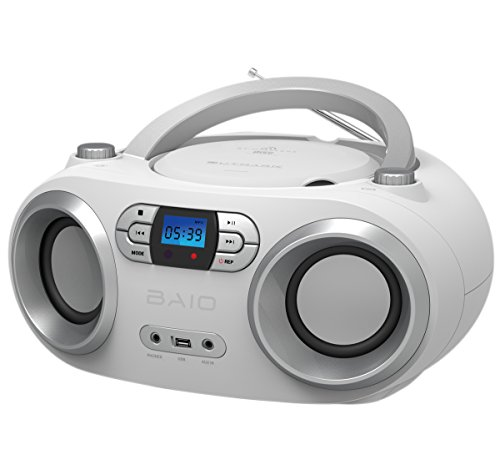 OUTMARK BAIO TRAGBARER CD-Radio-Bluetooth-Player | USB | AUX-IN | MP3 | Fernbedienung | LCD-Display Blaue Beleuchtung | FM-Radio | KOPFHÖRERANSCHLUSS | 2 x 1,5W RMS | Boombox | (White)