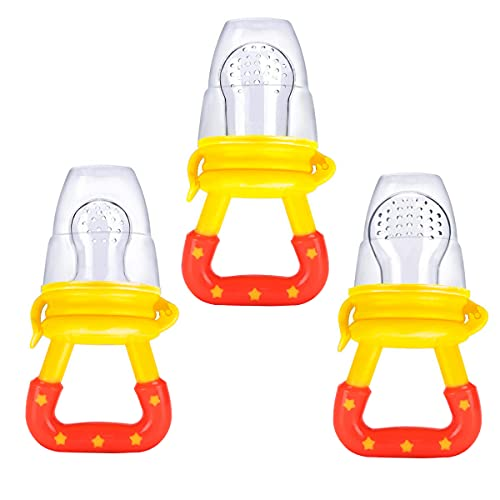 Baby Fresh Food Feeder 3Pack Fruit Silicone Nipple Teething Toy Reusable Aching Gums Pacifier Yellow