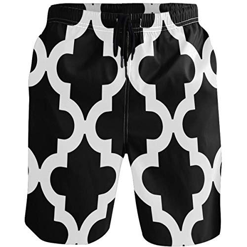 QUEMIN Black Pattern Men's Beach Short Swim Trunks Sports Running Bathing Suits with Mesh Lining,Size L