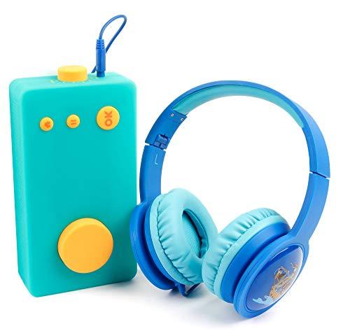 DURAGADGET Casque Enfant Bleu Pirates LED Compatible avec Lunii, ma Fabrique à Histoires - Filaire Ergonomique...