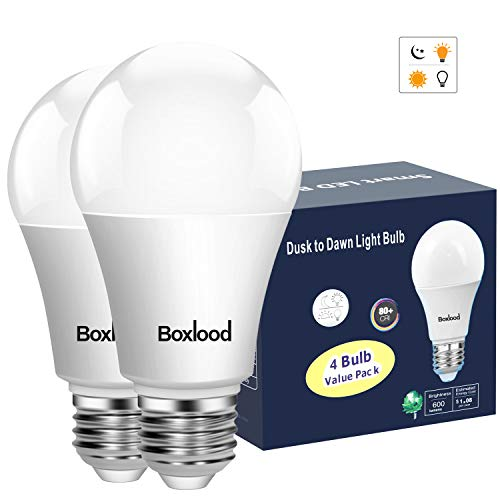 Dusk to Dawn Light Bulb,Build in Light Sensor Detector,9W(60W Equivalent),A19 Photocell Sensor Bulb,No Timer Required,3000K Warm White,for Indoor or Outdoor Use,Boundary,Garage,Patio,2-Pack by Boxlood
