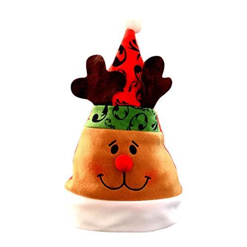 Unisex Men Women Kids Christmas Elf Hat Red Santa Pom Pom Hat Winter Fancy Novelty Xmas Snowman Reindeer Hats Snowflake Plush Beanie Cap Funny Party Cosplay Costume (Reindeer)