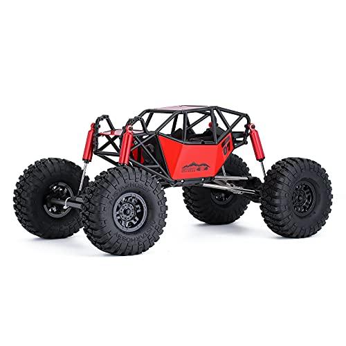 INJORA RC Car Frame 310 mm Distancia Entre Ejes Rock Buggy Chasis con Jaula Antivuelco y Ruedas para 1:10 Escalador de Remoto Control (Rojo)