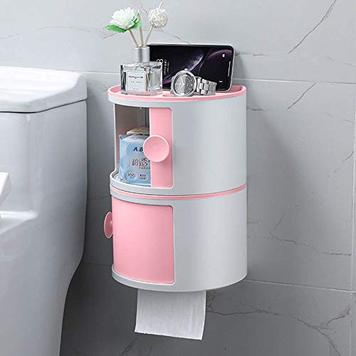 CJHOME Bathroom Rack Set Wall Mounted with Cover Adhesive Bathroom Organiser Caddy Storage for Cosmetic No Drill,C