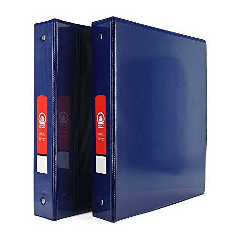 """Emraw Super Great 1 1/2"""" 3-Ring View Binder with 2-Pockets - Available in Blue - Great for School, Home, & Office (2-Pack)"""