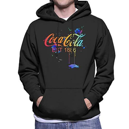 Coca-Cola Colour Paint Spatter Men's Hooded Sweatshirt