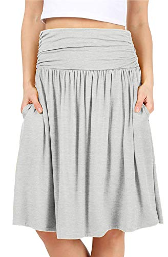 Grey Skirts for Women Reg and Plus Size Skirts a Line Knee Length Skirt Gray Pocket Skirt Heather Grey Skirt (Size Small, H. Grey)