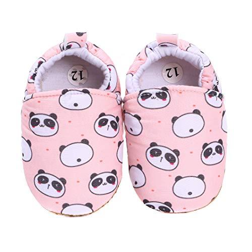 koshine Baby Schuhe Baumwolle Krabbelschuhe Kinder Lauflernschuhe 0-18 Monate (12-18 Monate, Rosa Panda), 20/21 EU (Etikette 13)