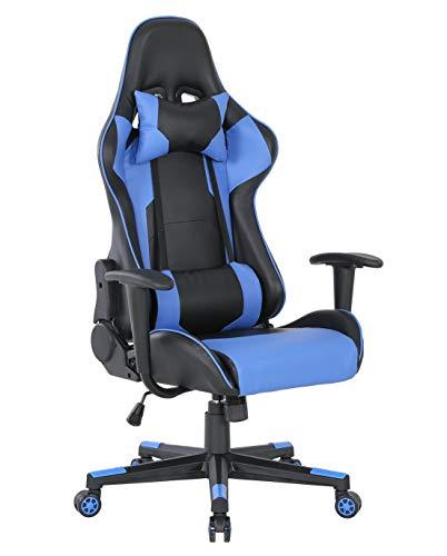 Silla ergonómica para videojuegos, para oficina, estilo carreras, altura ajustable, reclinable, res