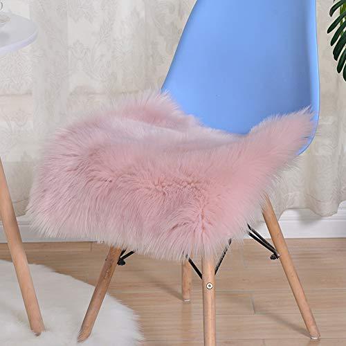 Trayosin Sitzkissen,Faux Lammfell Schaffell Sitzauflage Longhair Fell Optik Nachahmung Wolle Sofa Matte (Pink, 50 * 50cm)