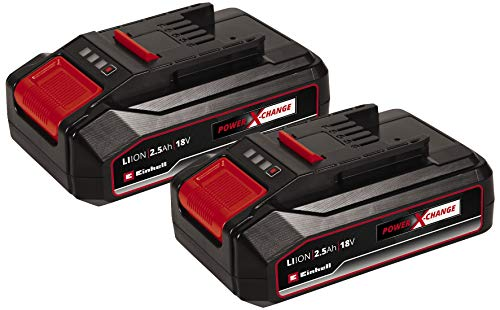 Original Einhell Akku PXC-Twinpack 2,5 Ah Power X-Change (Li-Ion, 18 V, 2 St. 2,5 Ah-Akkus, universell für alle PXC-Geräte, proaktives Batteriemanagement, angepasste Ladezyklen)