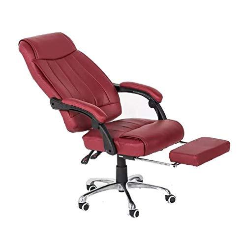 NMBC Bürostuhl Mit Fußstützen Ergonomischer PU Leder Gamingstuhl Mit Armlehne Mit Rollen Höhenverstellbarer Drehstuhl Chefsessel- rot